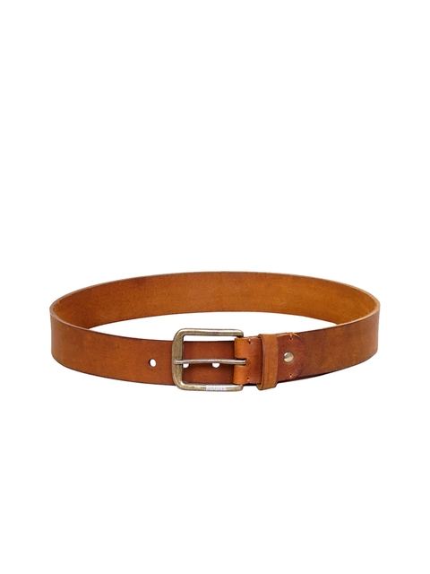 Justanned Men Tan Brown Leather Solid Belt