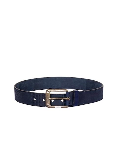 Justanned Men Blue Leather Solid Belt