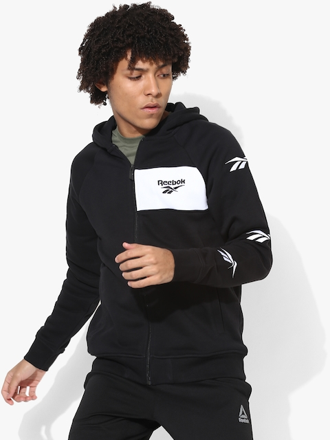 Reebok Men Black Hooded Sweatshirt