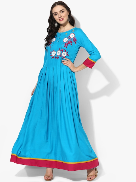 Sangria Women Blue & White Solid Anarkali Kurta