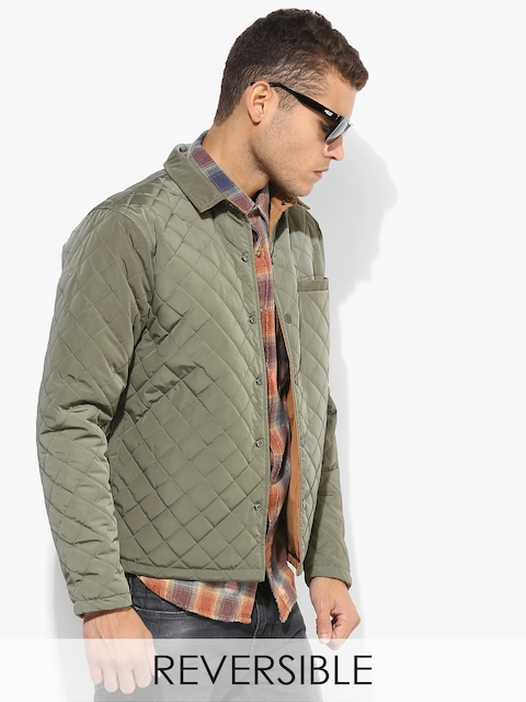 Olive Solid Regular Fit Bomber Jacket