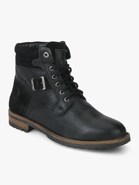 Alberto Torresi Men Black Solid Leather High-Top Flat Boots