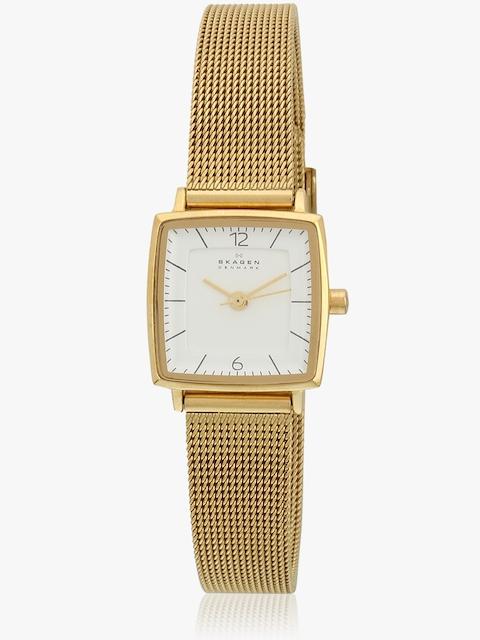 Skagen Strand Analog White Golden Watch