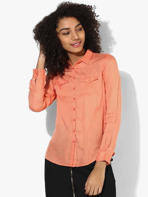 SPYKAR Women Peach Solid Shirt