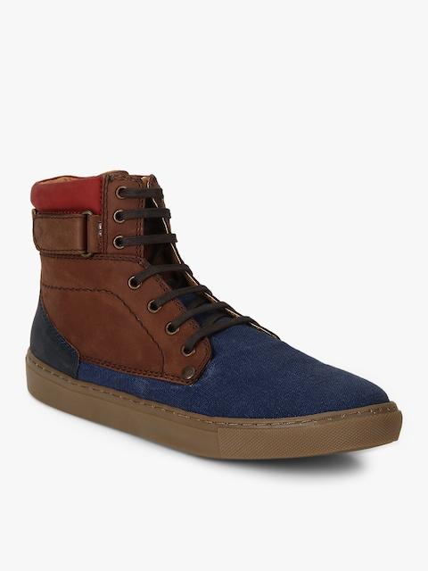 Ruosh Men Blue Colourblocked Textile High-Top Flat Boots