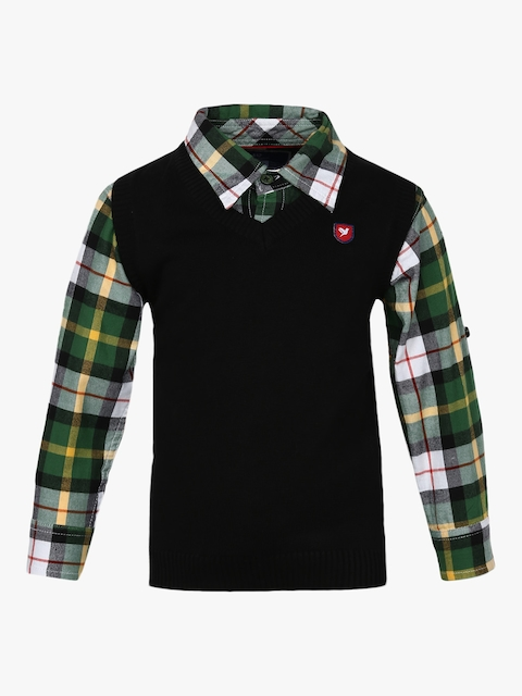 Black Regular Fit Casual Shirt With Sweater