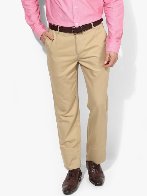 Beige Solid Slim Fit Formal Trouser