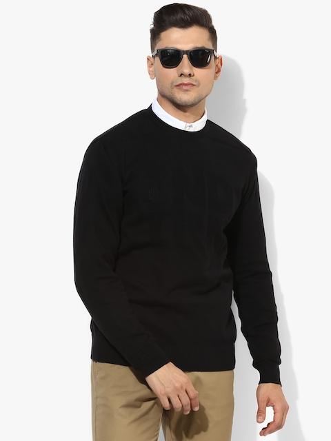 Black Textured Regular Fit Round Neck Sweater