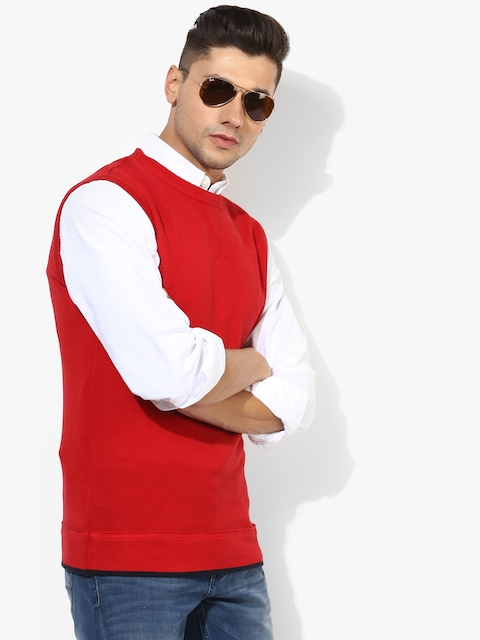 Red Textured Slim Fit Round Neck Sweater