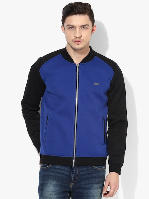 Blue Solid Bomber Jacket