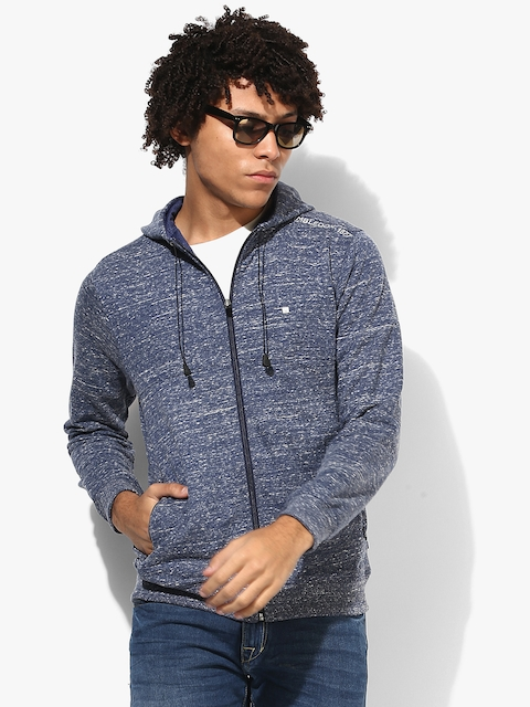 Blue Textured Sweat Jacket