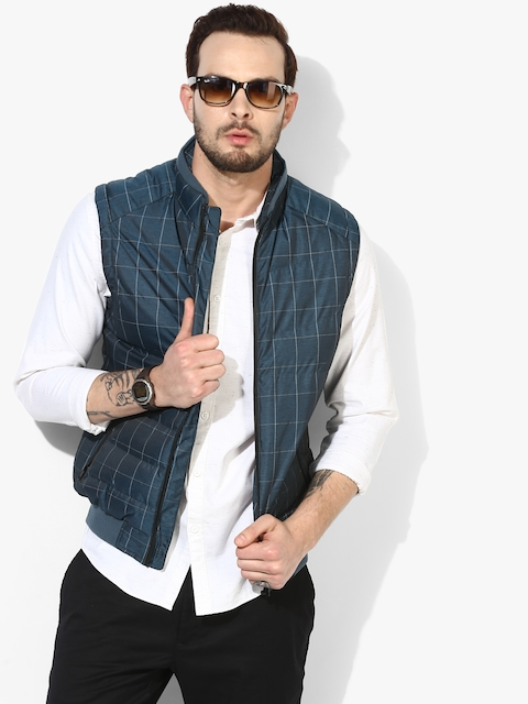 Blue Checked Casual Jacket
