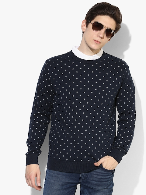 Navy Blue Printed Regular Fit Round Neck Sweater