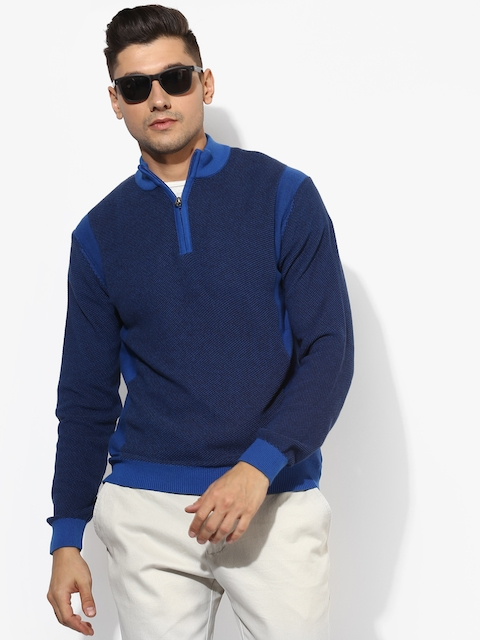 Blue Textured Regular Fit High Neck Sweater