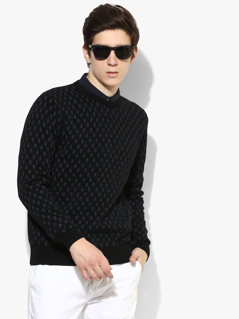 Black Printed Regular Fit Round Neck Sweater