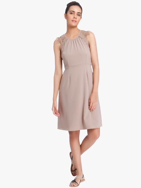 Beige Coloured Solid Shift Dress