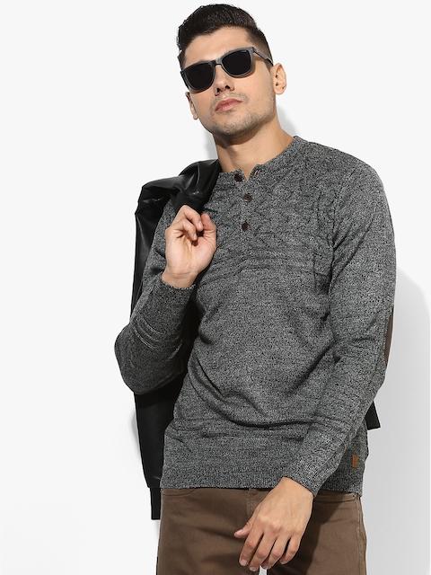 Grey Textured Regular Fit Sweater