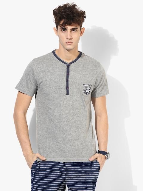 Grey Solid Slim Fit Henley Neck T-Shirt