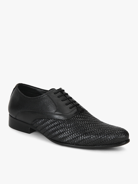 Jacob Black Oxford Weaved Formal Shoes