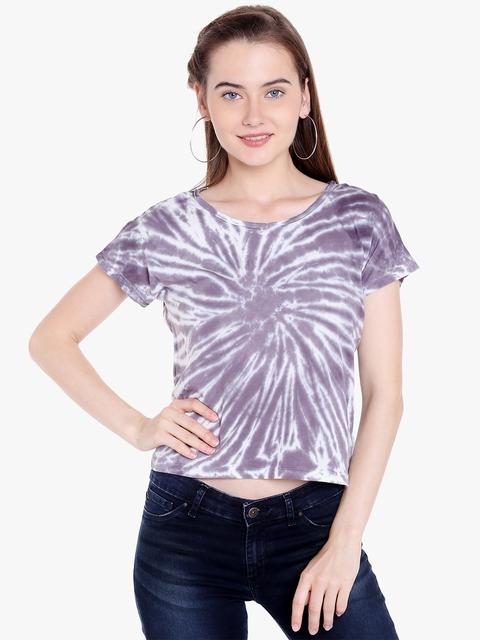 SPYKAR Purple Printed T Shirt