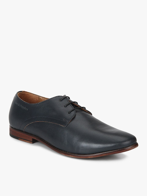 Hush Puppies Men Navy Blue Leather Derby Shoes