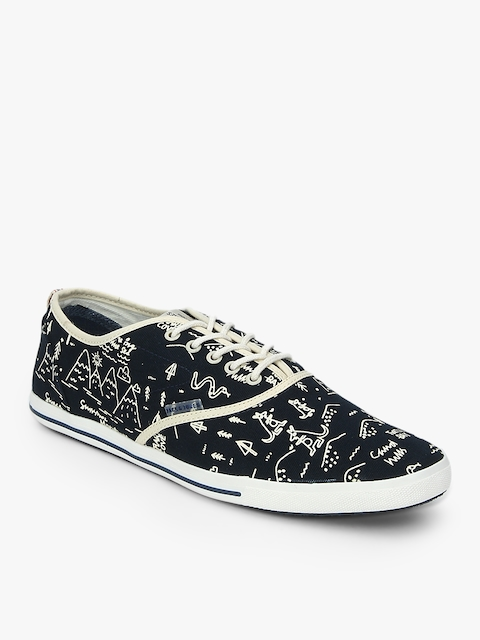 Spider Soild Print In Navy Blue Lifestyle Shoes