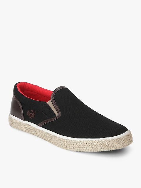 Flying Machine Men Black Slip-On Sneakers