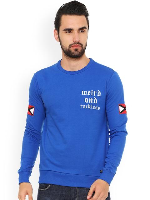 People Men Blue Printed Sweatshirt