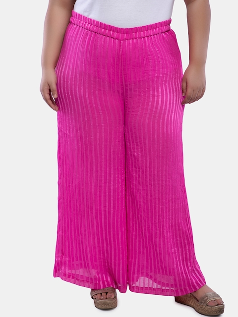 TALINUM Women Pink Straight Solid Palazzos