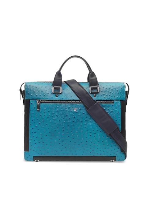 Da Milano Blue Leather Textured Laptop Bag