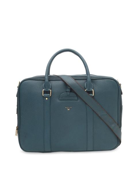 Da Milano Unisex Sea Green Solid Leather Laptop Bag