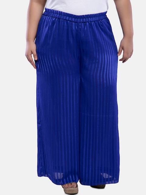 TALINUM Women Blue Loose Fit Printed Parallel Trousers