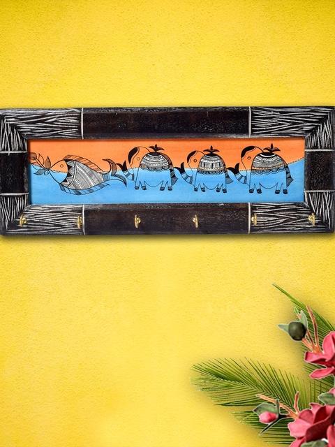 Unravel India Multicoloured Rustic Woodex Texture Madhubani Art Key Holder