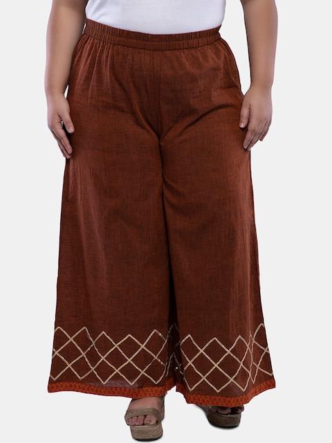 TALINUM Women Brown Loose Fit Printed Parallel Trousers
