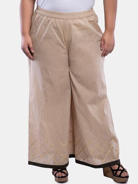 TALINUM Women Beige Loose Fit Printed Parallel Trousers