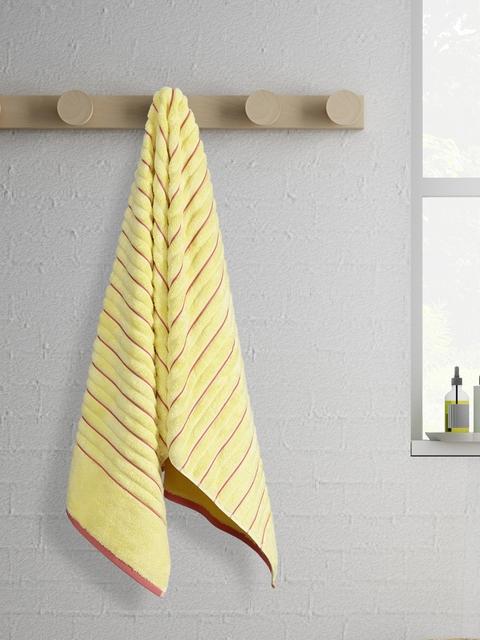 SPACES Exotica Ribbed Bath Towel Custard-Coral Standard Bath Towel