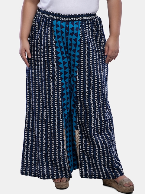 TALINUM Women Turquoise Blue & Navy Blue Loose Fit Printed Parallel Trousers
