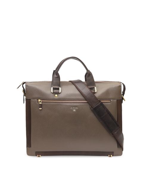 Da Milano Unisex Brown Solid Laptop Bag