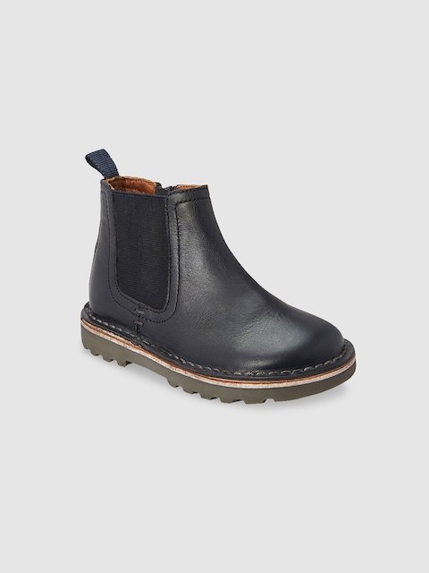 next Boys Blue Solid Leather Mid-Top Flat Boots