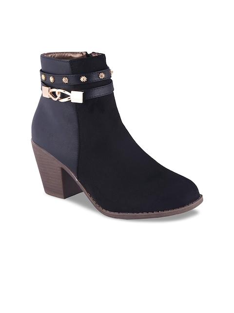 MSC Women Black Colourblocked Heeled Boots