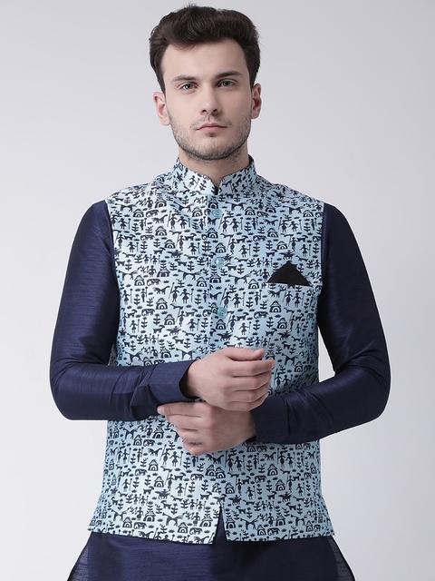 DEYANN Blue Printed Nehru Jacket