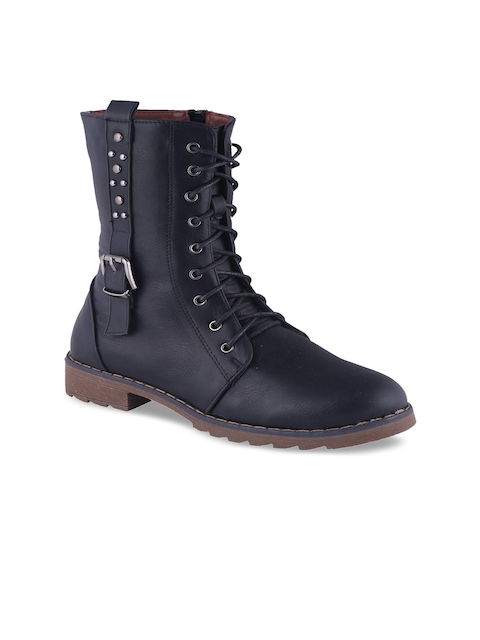 MSC Women Black Solid High-Top Flat Boots
