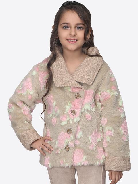 CUTECUMBER Girls Beige & Pink Printed Tailored Jacket