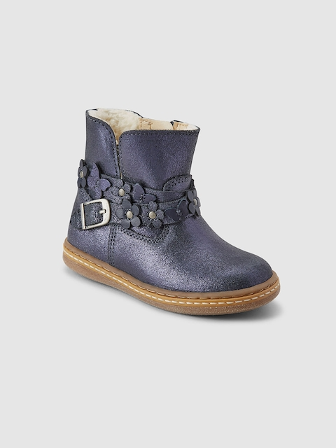 next Girls Blue Solid Leather High-Top Flat Boots