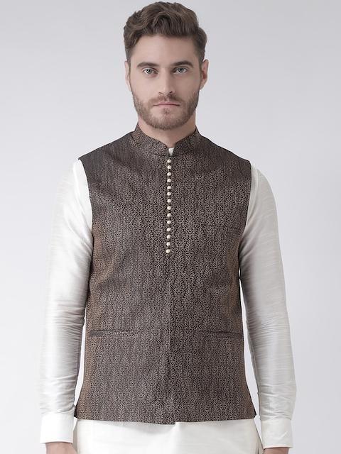 DEYANN Men Black Woven Design Nehru Jacket