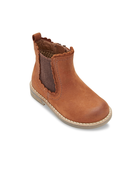 next Girls Tan Brown Solid Leather Mid-Top Flat Boots