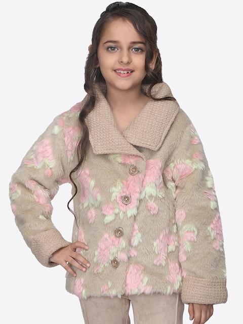CUTECUMBER Girls & Pink Beige Printed Tailored Jacket