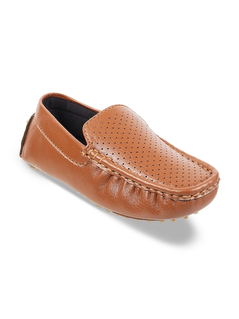 Mochi Boys Tan Brown Perforated Loafers
