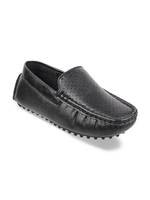 Mochi Boys Black Perforated Loafers