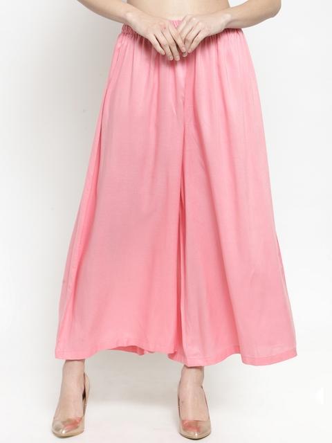 Sera Women Pink Wide Leg Solid Palazzos